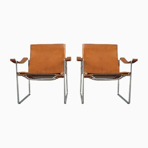 Swiss Leather and Tubular Steel Armchairs by Fritz Haller for Heinrich Pfalzberger, 1970s, Set of 2