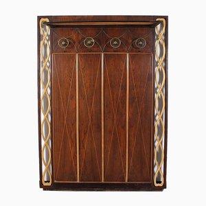Colgador de madera oscura atribuido a Osvaldo Borsani, Italy, años 40