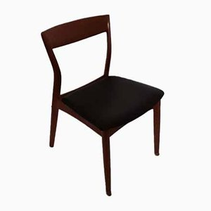 Solid Teak Side Chair With Black Leatherette, 1970s