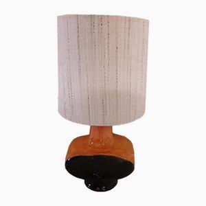 Dunkelblaue und orangefarbene Keramik Tischlampe, 1970er