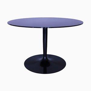 Tavolo rotondo vintage in vetro specchiato nero di Calligaris