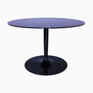 Vintage Round Table In Mirrored Black Glass from Calligaris