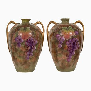 Ceramic Decorative Hand-Painted Wine Amphoras, England, 1950s, Set of 2