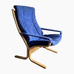 Chaise Siesta Mid-Century Bleue par Ingmar Relling pour Westnofa, 1960s