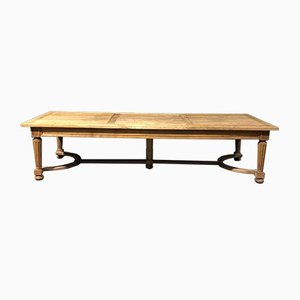 Mesa de comedor francesa antigua de roble