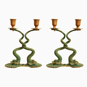 Brass ColaPesce Candleholders, 1940s, Set of 2
