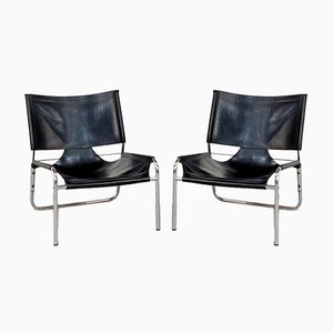 Black Leather and Chrome Lounge Chairs, 1970s, Set of 2