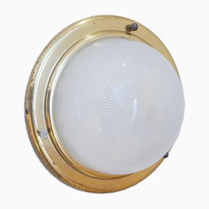 Lampada da soffitto in ottone e vetro, anni '50