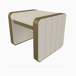Somnus Stool with Flute Detailing in Ivory Boucle & Antique Brass Tint by Casa Botelho