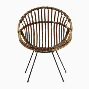 Armchair In Rattan and Black Rod, 1950s
