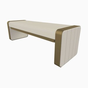 Somnus Bench with Flute Detailing in Ivory Boucle & Antique Brass Tint by Casa Botelho
