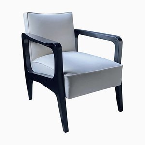 Art Deco Inspired Atena Armchair in Walnut Black Ebony & Ivory Velvet by Casa Botelho