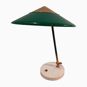 Lampada da tavolo in ottone e marmo verde di Stilux Milano, anni '50