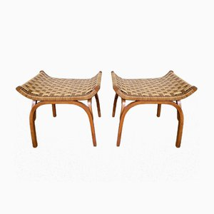 Italian Wood and Rattan Taurus Stools by Giuseppe Pagano, 1960s, Set of 2
