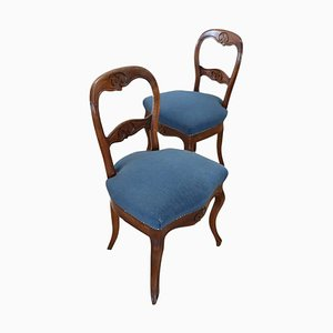 Antique Carved Walnut Chairs, 1840s, Set of 2