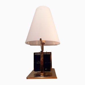 Lampada da tavolo in ottone con cubetti in vetro blu e cono in vetro opalino bianco, anni '90