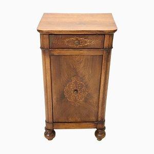 Antiker Nussholz Nachttisch mit Intarsien, 1820er