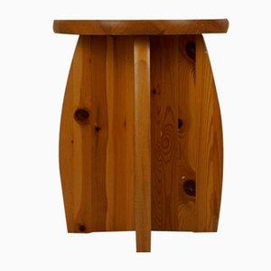 Taburete sueco vintage de madera maciza, años 70