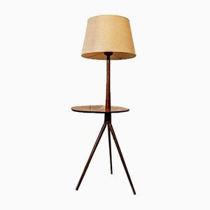 Floor Lamp in Inlaid Walnut, Italy, 1950s