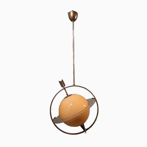 Nickel-Plated Saturn Model Ceiling Lamp by Gio Ponti, 1940s