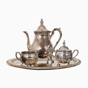 Servicio de té antiguo plateado. Juego de 4
