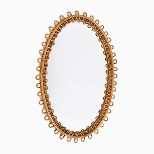 Wicker and Bamboo Oval Mirror, 1950s