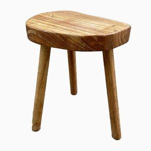 Vintage Holz Dreibein Hocker, Frankreich