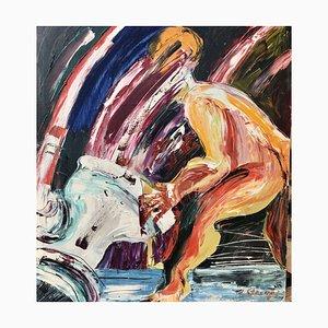Janis Straupe, Abstraktes Vintage Gemälde Utopia, Lettland, 1981, Öl auf Leinwand