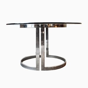 Italian Steel Table by Vittorio Introini for Saporiti Italia, 1970s