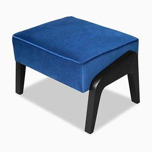Art Deco Style Black Ebony, Blue Notte Velvet, and Beech Ottoman by Casa Botelho