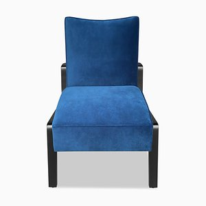 Art Deco Style Black Ebony, Beech Wood, and Blue Notte Velvet Atena Chair by Casa Botelho