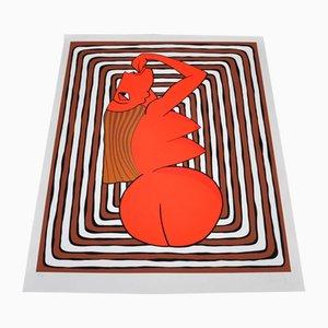 Lithographie Ralf Artz, Femme Rouge, Blanche et Marron