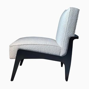 Art Deco Style Black Ebony, Beech Wood, and Boucle Atena Chair by Casa Botelho