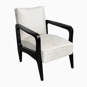 Art Deco Inspired Atena Armchair in Walnut Black Ebony & Ivory Leather by Casa Botelho