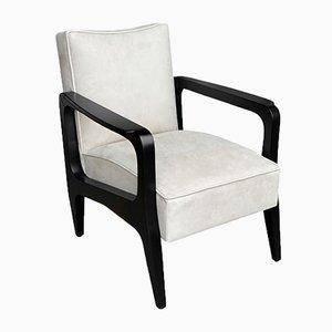 Art Deco Inspired Atena Armchair in Walnut Black Ebony & Ivory Leather by Casa Botelho