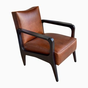 Art Deco Inspired Atena Armchair in Walnut Black Ebony & Moka Bull Leather by Casa Botelho