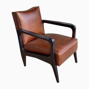 Art Deco Inspired Atena Armlehnstuhl aus Schwarzem Ebenholz & Moka Bullenleder aus Nussholz von Casa Botelho