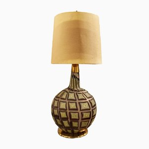 Glass and Brass Table Lamp by Tea Morosati for Stilnovo, 1960s