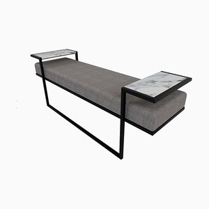 Industrial Style Eros Bench in Blackened Steel, Marble Tray & Jasper Fabric by Casa Botelho