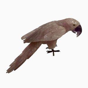 Figura di pappagallo in quarzo rosa con becco ametista, anni '60
