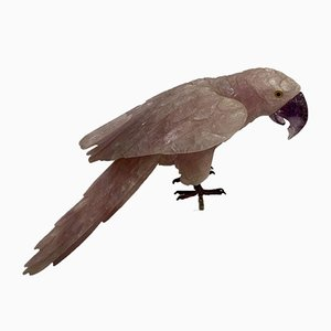 Figure of Rose Quartz Parrot With Amethyst Beak, 1960s