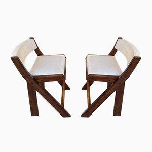 Taburetes Compas italianos vintage de madera de Le Corbusier. Juego de 2
