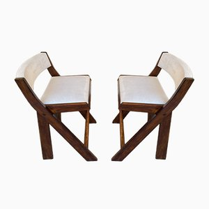Vintage Italian Compas Wood Counter Stools by Le Corbusier, Set of 2