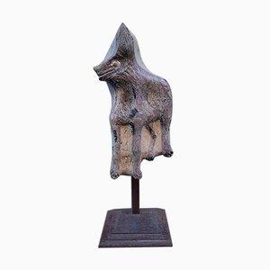 Große Skulptur, Wolf aus Polychromem Steingut, Montiert auf Eisenstruktur, 1950er Jahre, San Venice Pole