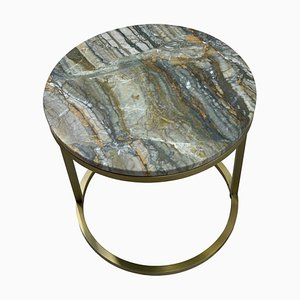 Modern Diana Round Coffee Table with Brass Tint & Marble by Casa Botelho