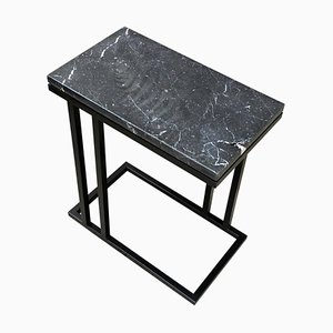 Art Deco Inspired Elio II Slim Side Table in Black Powder Coated & Black Marquina Marble Surface by Casa Botelho