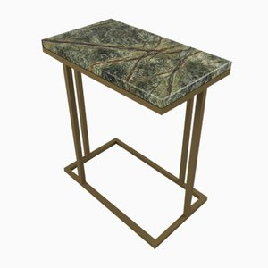 Art Deco Inspired Elio II Slim Side Table Brass Tint & Forest Green Marble Surface by Casa Botelho