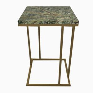 Art Deco Inspired Elio II Slim Side Table Squared Brass Tint & Marble Surface by Casa Botelho