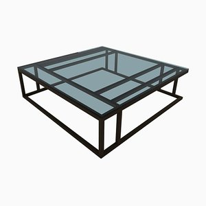 Art Deco Inspired Elio Coffee Table Large Powder-Coated & Glass Surface by Casa Botelho