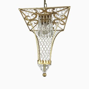 Gilded Iron and Crystal Lantern from Banci, 1980s